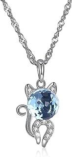 3d0f444d7c63b4 DOLOVE in argento Sterling collane per donne animale gatto cristallo  Swarovski da collana blu pendente rotondo