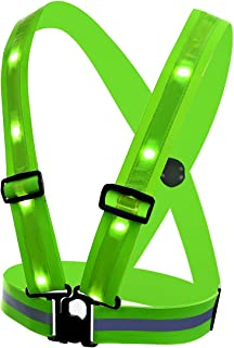 TAGVO LED Reflective Vest, 3 Modes USB Rechargeable LED Light & Reflective Stripes - 360 Degree High Visibility Night Safety Vest, Adjustable Size Universal