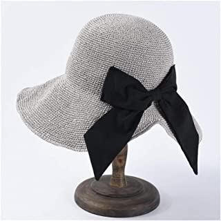 Summer Sun hat Female Hand Hook Foldable Sun Visor Japanese Bow Big Straw hat Holiday Beach hat` TuanTuan (Color : Grey)