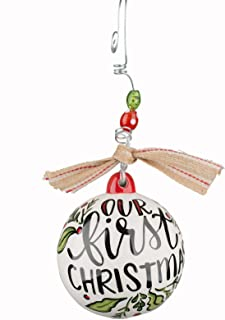 Glory Haus Our First-Christmas Ball Ornament, 4 x 4 Ceramic Ball Ornament With Wire Hanger