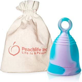 Mini - Medium Firm - Menstrual Cup With Ring For Easy Removal - Small 24ml Low Cervix - 12 Hour No Spill Pad/Tampon Alternative - FDA Approved Medical Grade Silicone -Teen PURPLESWIRLCUP Peachlife Inc