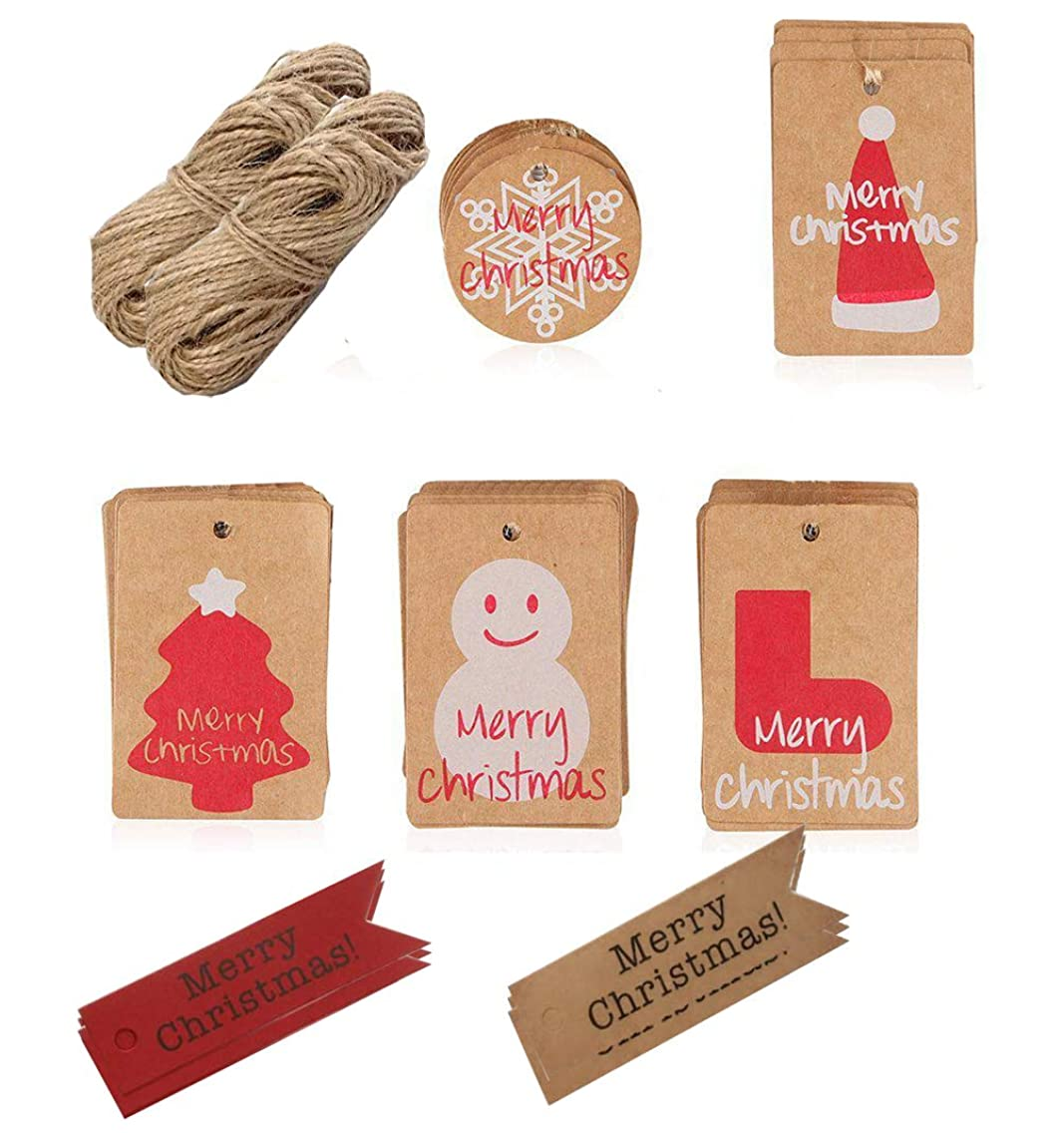 lovielf Kraft Paper Christmas Gift Wrap Tags Labels Set (175 Pieces) with String (65 Feet/ 20m), 7 Different Style