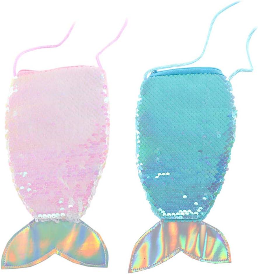 2pcs Cute Fish Tail Design Umh/ängetasche Entz/ückende Pailletten-Handytasche Mode Kids Coin Bag Girl Aufbewahrungstasche Tragbare Geldb/örse bunt und lila, 1 St/ück f/ür Jede Farbe