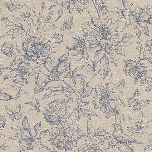 rasch Tapete 449471 aus der Kollektion Florentine II – Vliestapete in Beige mit floralem Muster im Vintage Stil – 10,05m x 53cm (L x B)