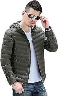 QCHENG Men's Fall Winter Hooded Down Jacket Lightweight Puffer Jacket Coat