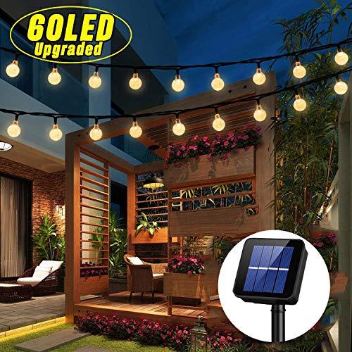 Solar Lichterkette Außen,OxyLED 60 LED 7,85 Meter 8 Modi Lichterkette Außen Solar Garten Lichterkette Kristall Kugel Wasserdicht für draussen,Innenbeleuchtung,Garten, Hochzeit,Party,Warmweiß