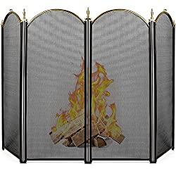 professional Large gold screen for Amagaberi fireplace, 4 panels, artistic wrought iron, black metal fireplace, standing …
