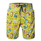 ZMYGH Robot Cartoons Men's Summer Beach Quick-Dry Surf Swim Trunks Boardshorts Cargo Pants XL