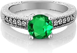 Gem Stone King 1.39 Ct Round Green Simulated Emerald White Diamond 925 Sterling Silver Engagement Ring