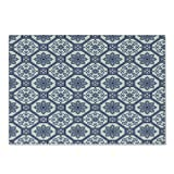 Lunarable Orient Cutting Board, Floral Oriental Persian Afghan Medieval Baroque Tiles Shapes Tribal, Decorative Tempered Glass Cutting and Serving Board, Small Size, White Blue