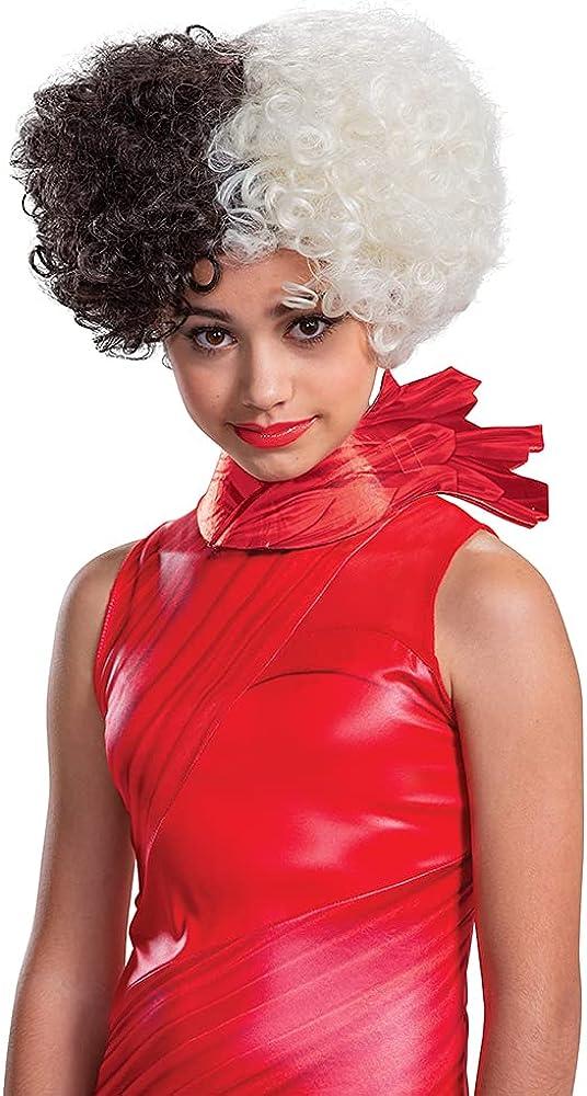 Cruella De Vil Wig Kids and Teens Size, Cruella Disney Movie Costume Hair Accessory, Single Size Black and White Wigs : Clothing, Shoes & Jewelry