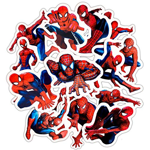 32 pièces Autocollants Spiderman Enfants Autocollants pour ordinateur portable, voitures, moto, Skateboard bagages