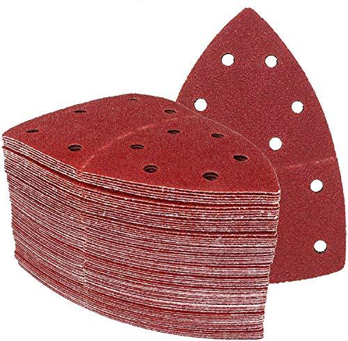 Triángulos de lijado Prio, 150 unidades, 11 agujeros, 105 x 152 mm, 25 de cada grano 40/60/80/120/180/240, para multilijadora, hojas de lija triangulares, papel de lija