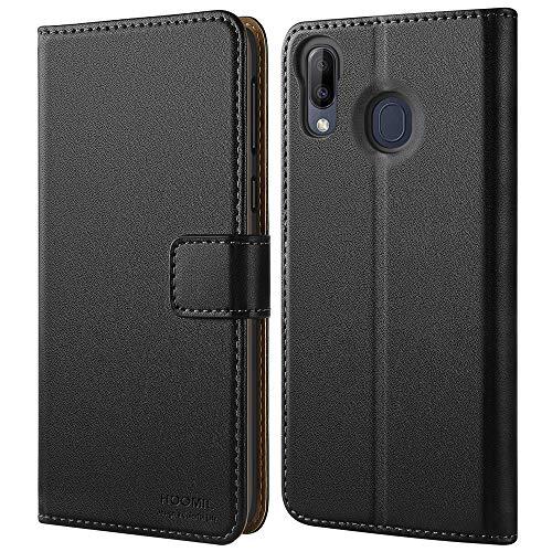 HOOMIL Handyhülle für Samsung Galaxy M20 Hülle, Premium PU Leder Flip Schutzhülle für Samsung Galaxy M20 Tasche, Schwarz