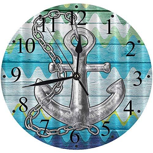 Yaoni Silencioso Wall Clock Decoración de hogar de Reloj de Redondo,Chevron, náutico con Cadena de Acero Tablones de Madera rústica Boya Niños Lovely Dreamy al,para Hogar, Sala de Estar, el Au