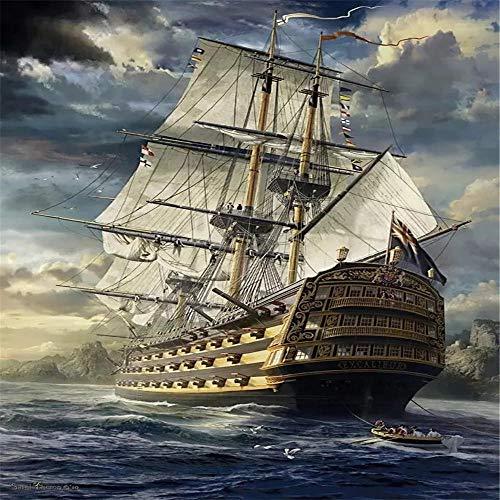 TTTTYYY Puzzle 3000 Piezas (Sea Sailing Boat) Nueva York Puzzle 3000 Piezas Obra de Arte de Juego de Rompecabezas para Adultos