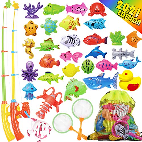 Goody King Fishing Game Set for Kids - Magnetic Fishing Water Pool Toy for Toddlers - Bath Outdoor Indoor Carnival Party Water Table Fish Toys for Kids Age 3 4 5 6 Years Old 2 Players Gift