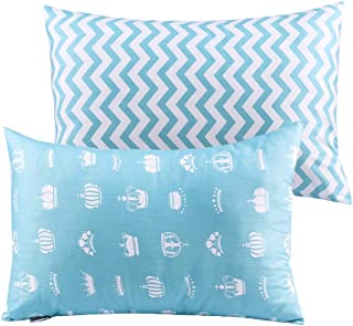 UOMNY Kids Toddler Pillowcases 2 Pack 100% Cotton Pillowslip Case Fits Pillows sizesd 13 x 18 or 12x 16 for Kids Bedding Pillow Cover Baby Pillow Cases Blue Crown/Wave Pillow Cases