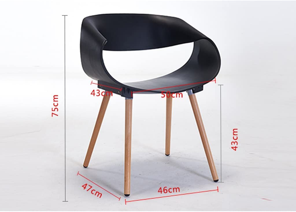 Chaise design minimaliste moderne en bois massif dossier en plastique fauteuil (Couleur : B) A