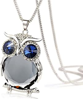 Women Owl Pendant Diamond Sweater Chain Long Necklace Jewelry