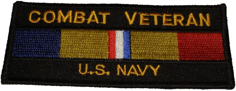 COMBAT VETERAN U.S. NAVY with Combat Ribbon - Limited price sale Action PATCH Color famous