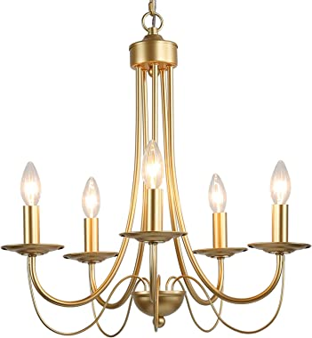 "KSANA Gold Chandelier for Dining Room Modern Light Fixture, 18.5"" Diameter x23.5"" Height"