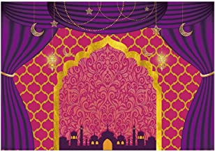 Funnytree 7x5ft Magic Genie Theme Party Backdrop Egyptian Moroccan Arabian Gold Indian Bollywood Birthday Photography Background Pink Glitter Sweet 16 Baby Shower Photo Decorations Banner Photobooth