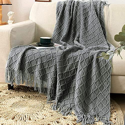 Sylanfia Weich gestrickte Decke mit Fransen Quaste Einfarbig Gemütliche Strick Textur Plaid Decke für Tagesdecke Sofa Couch Bezug Schal 130x150cm