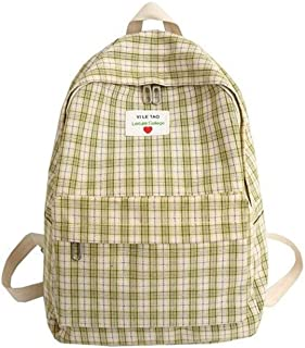 Backpack Girls School Bag Student Small Fresh Backpack Simple Lattice Backpack Large Capacity