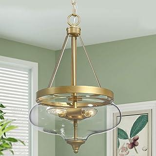 KSANA Gold Chandelier, Modern Glass Pendant Lighting Fixture for Dining Room, Entryway, Living Room, Kitchen, Bedroom (3 Lights, Fishbowl Shaped)