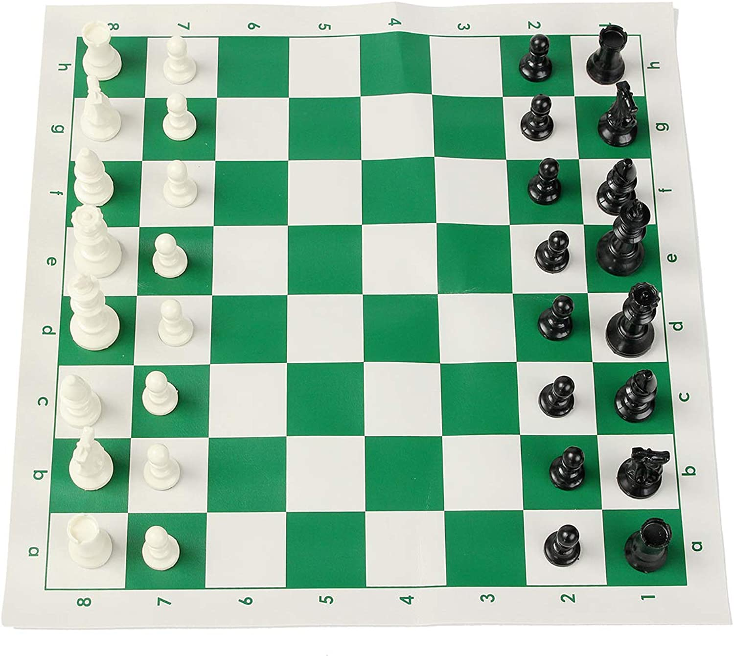 ShopSquare64 16 inch Tournament Chess Set Game Plastic Pieces Green Roll Outdoor Travel Camping Game