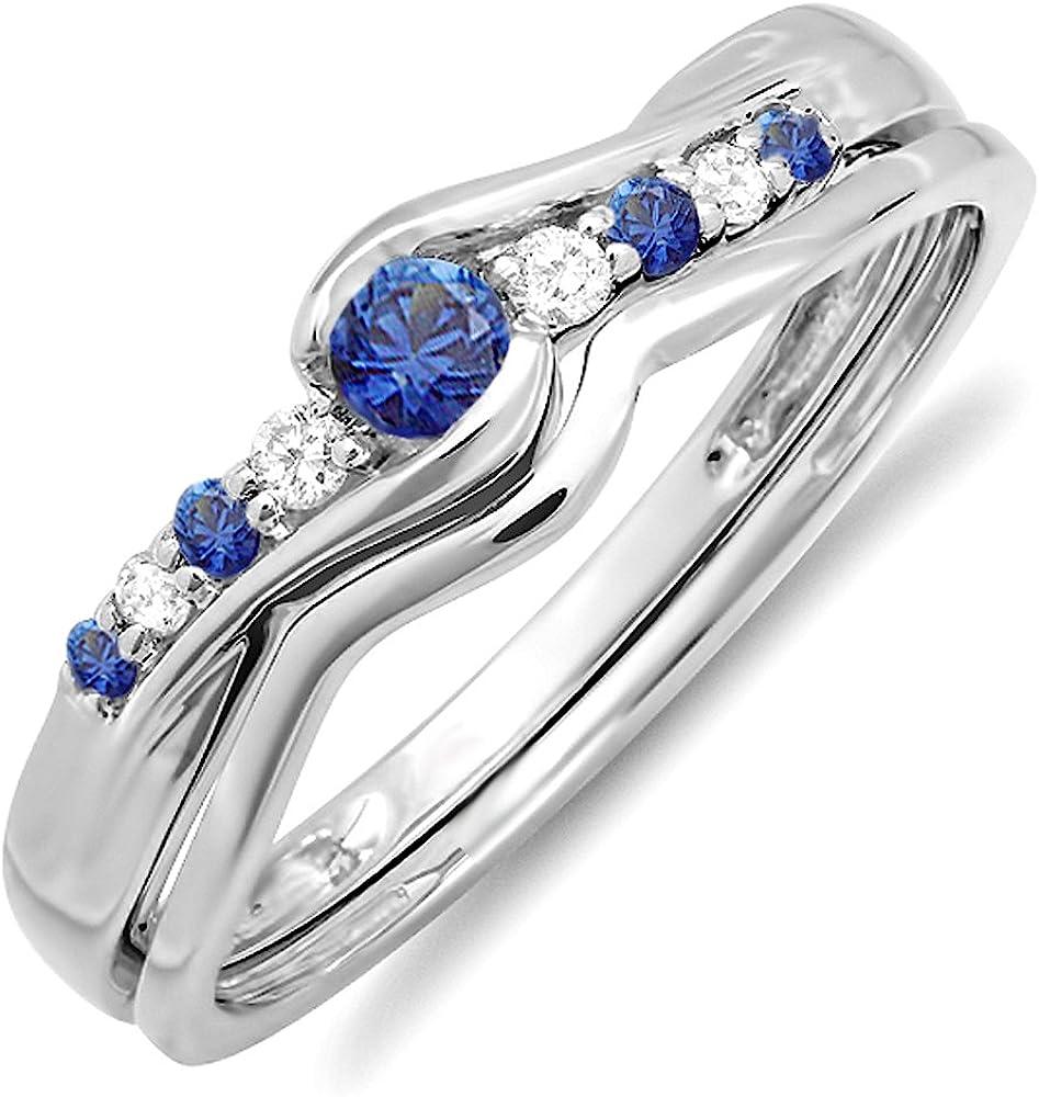 Dazzlingrock Collection 10K Round Blue Sapphire And White Diamond Ladies Bridal Promise Engagement Wedding Band Set, White Gold