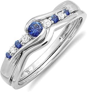 14K Round Blue Sapphire And White Diamond Ladies Bridal Promise Engagement Wedding Band Set, White Gold