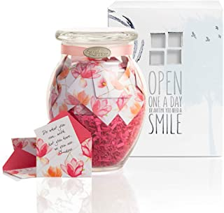 KindNotes Glass Keepsake Gift Jar with Inspirational Messages - Watercolor Blooms