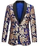 Men's Slim Fit Velvet Shiny Sequins Suit Jacket Blazer Stylish One Button Notch Lapel Tuxedo for Party,Wedding,Banquet,Prom Blue