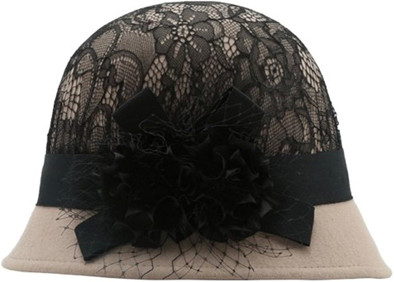 Elegant Women Lady Fashion Wool Cloche Bowler Lace Flower Hat(Camel Black)