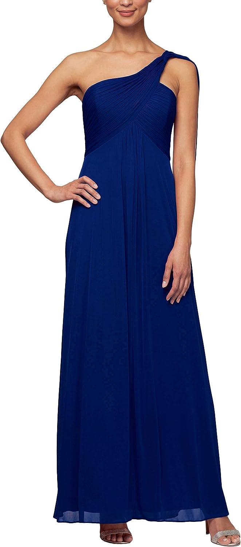 Alex Evenings Women's One Shoulder Long Dress (Petite and Regular)