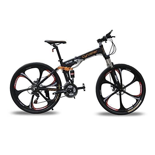 d4bdb6c3445 Cyrusher FR100 Folding Mountain Bike Full Suspension 24 Speeds Shimono  Shifter with Aluminium Frame Disc Brake