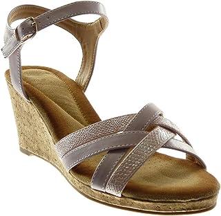 55b709e5943246 Angkorly - Chaussure Mode Sandale Mule lanière Cheville Femme Multi-Bride  Peau de Serpent liège
