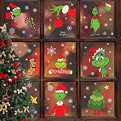 Grinch Window Clings Christmas Snowflake Xmas Window Clings Decoration for Glass Winter Window Stickers Decals How the Grinch Stole Christmas Design for New Year Holiday Party Supplies Favors 8 Sheets