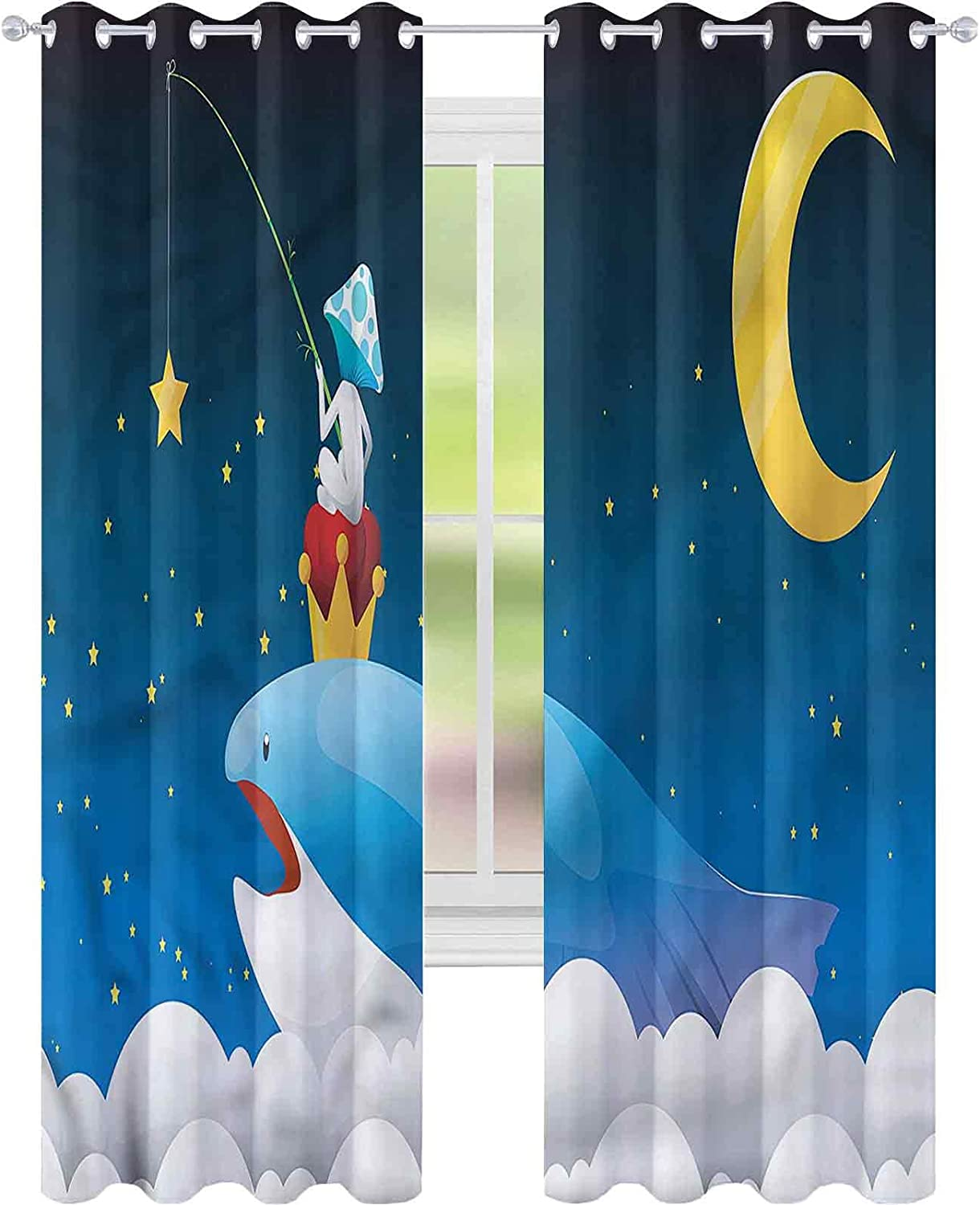 Blackout Window Curtain Whale on Arlington Mall Clouds Moon W52 x for L72 Max 67% OFF