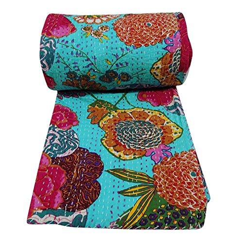 Sophia Art Indian Frutas patrón de Colcha Reversible Azul Gudri Pure Cotton Queen Size Bed Spread Flores y Frutas impresión Decorativa Kantha Stitch Quilt algodón, Azul Turquesa, 90X108 Inches