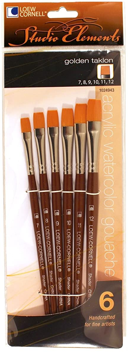 Loew-Cornell 1024943 Studio Elements Golden Taklon Short Handle Flat Large Brush Set
