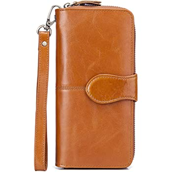 Brain Womens RFID Blocking Zip Around Wallet Genuine Leather Clutch Long Card Holder Organizer Wallets Large Travel Purse