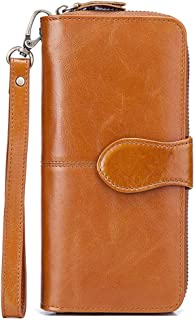 Women's RFID Blocking Leather Zip Around Phone Clutch Large Travel Multi-card Slot Purse Wristlet