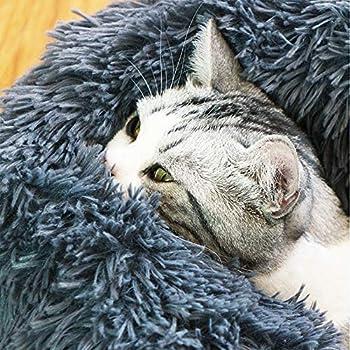 Maritown Lit de Chien Lit de Chat De Luxe Moelleux Auto réchauffement lit pour bébé Rond en Forme de Beignet Anti-Slip arrière Coussin d'oreiller intérieur pour Petits Animaux de Compagnie Animaux