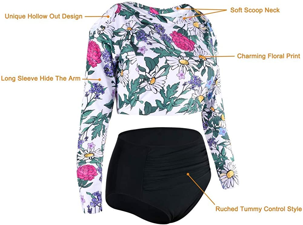 Cadocado Mommy and Me Crop Top Rash Guard Set Two Piece UPF 50 High Waist Tummy Control Bathing Suit Long Sleeve