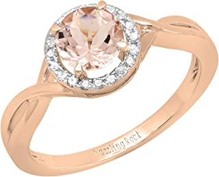 18K 6 MM Round Gemstone & White Diamond Ladies Bridal Engagement Ring, Rose Gold
