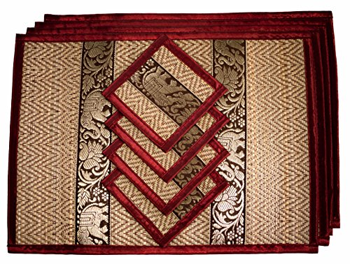 CCcollections Tischset und Untersetzer 4 Packs 2 Größen natürliche handgefertigte natürlichen Reed Korbgeflecht mit Plüsch Seide Ordnung Öko-Handwerk (Mittlerer Burgund)
