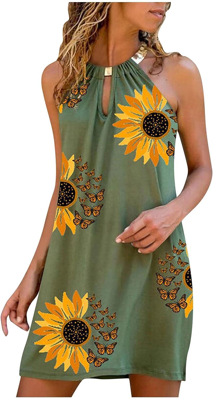 Oiumov Boho Dress for Women Summer Casual Halter Neck Cute Mini Flower Dresses Sleeveless Cocktail Beach Party Sundress